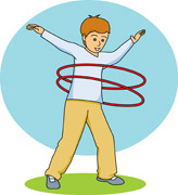 Boy using a hula hoop Clipart